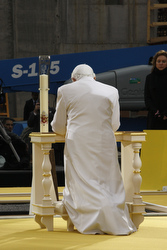 Pope Benedict XVI prays at site of the destroyed World Trade Center towers in New York April 20. (CNS/Nancy Wiechec)