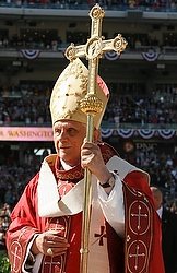 Pope Benedict XVI arrives to celebrate Mass at Nationals Park in Washington April 17. (CNS/Paul Haring)