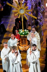 Clergy carry a monstrance attached to the Ark of the New Convenant during a procession at the opening Mass of the 49th International Eucharistic Congress in Quebec City June 15. (CNS/James Baca, Denver Catholic Register)