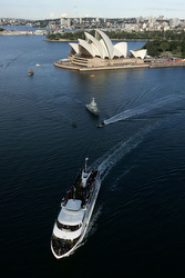 A cruise ship carrying Pope Benedict XVI and World Youth Day pilgrims makes its way through Sydney Harbor July 17 in Sydney. (CNS/courtesy of World Youth Day 2008)