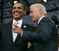 Sen. Barack Obama of Illinois and Sen. Joe Biden of Delaware attend an AFL-CIO forum in Chicago Aug. 7. Obama, the Democratic presidential candidate, has chosen Biden as his vice presidential running mate. (CNS/Reuters)