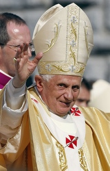 Pope Benedict XVI waves to pilgrims as he arrives to celebrate a Mass for the sick at the Marian sanctuaries of Lourdes, France, Sept. 15. The pope was in Lourdes primarily to mark the 150th anniversary of Mary's appearances to St. Bernadette Soubirous. (CNS/Reuters)