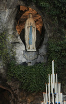 A statue of Mary is seen at the grotto of the Sanctuaries of Our Lady of Lourdes. (CNS/Nancy Wiechec)