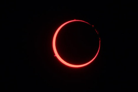 The moon blocks out the disk of the sun in this annular eclipse, photographed with the Vatican Observatory's Coronado Solar Telescope. Though eclipses are spectacular, they are also predictable; the regularity of the heavens is used in Scripture as evidence of God's steadfast love for his people.