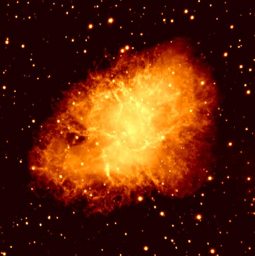 Stars shine by fusing hydrogen into helium; especially large stars can burn further by converting the helium into heavier elements. But eventually even that fuel runs out, and the star collapses. If the star is big enough, the rebound from that collapse can produce an immense explosion called a supernova. This is the remnant of a star that was seen to explode in 1066, known today as the Crab Nebula, as imaged by Father Rich Boyle at the Vatican's telescope on Mount Graham, Ariz. Out of the gases of such a supernova come the heavy elements that eventually come together again to form planets around new stars -- the heavy elements required for life.