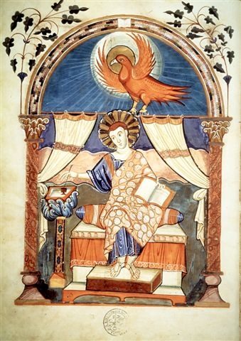 A page from the ninth-century Lorsch Bible, showing a decorative painting of St. John the Evangelist. (CNS photo courtesy of the Vatican Library)