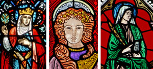 Deborah, Mary Magdalene and Esther are depicted in stained-glass windows.(CNS/Crosiers)