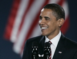President-elect Barack Obama smiles during the election-night victory rally in Chicago Nov. 4. (CNS/Reuters)