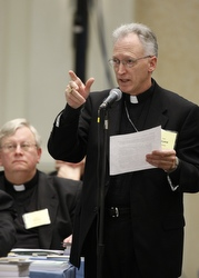 Bishop Earl A. Boyea of Lansing, Mich., speaks on the floor of the meeting of the U.S. Conference of Catholic Bishops Nov. 11 in Baltimore. (CNS/Nancy Wiechec)
