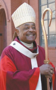 Archbishop Wilton D. Gregory stands outside Sacred Heart Church in Atlanta, Sept. 25 as the 2008 Red Mass prepares to get underway. (CNS/Michael Alexander, The Georgia Bulletin)