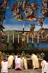 POPE CELEBRATES MASS INSIDE SISTINE CHAPEL