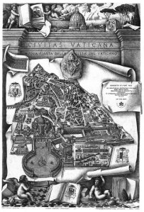 An early engraving of the layout of Vatican City (CNS photo courtesy of Vatican Library)