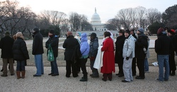 Early in the morning Jan. 20 people wait in line prior to the swearing-in of President-elect Barack Obama as the 44th president of the United States in Washington. (CNS/Bob Roller)