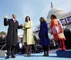 Barack Obama takes the oath of office as the 44th president of the United States Jan. 20 at the U.S. Capitol in Washington. (CNS/pool via Reuters)