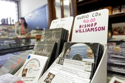 Compact discs featuring an interview with Bishop Richard Williamson are displayed in a bookstore at St. Michael the Archangel Chapel in Farmingville, N.Y., Feb. 1. The chapel, which is affiliated with the Society of St. Pius X, was established under the direction of then-Father Williamson in 1983. British-born Bishop Williamson, whose excommunication was lifted by Pope Benedict XVI Jan. 21, provoked controversy with comments denying the full extent of the Holocaust. (CNS/Gregory A. Shemitz)