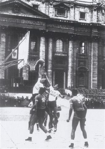 A basketball game is played in St. Peter's Square at the Vatican in the presence of Pope Pius XII in 1955. (CNS photo/Vatican's Pontifical Council for the Laity)