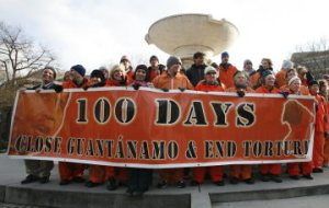The 100 Days Campaign ends its public effort to close the military prison at Guantanamo Bay, Cuba, with rallies and a procession through Washington April 30. (Photo from 100 Days Campaign)