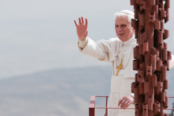 Pope Benedict XVI waves to journalists as he takes in the panoramic view from Mount Nebo In Madaba, Jordan, May 9.  (CNS/Greg Tarczynski)