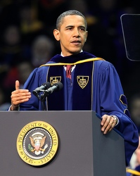 President Obama at yesterday's commencement. (CNS/Christopher Smith)