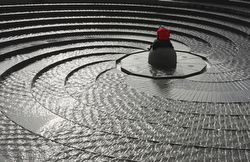 Our Paul Haring won second place in best scenic, still life or weather photo for this shot of a World Youth Day pilgrim spending quiet time at a fountain in Sydney, Australia, last July. (CNS/Paul Haring)