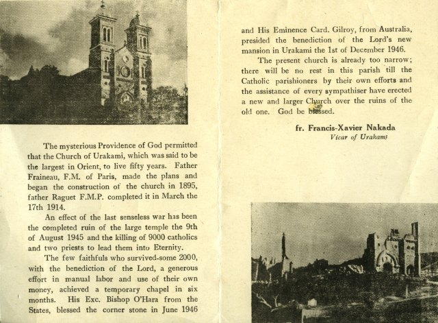 "A pamphlet in Catholic News Service's archives called ""Memory of Urakami Church."""