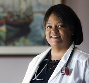 Dr. Regina Benjamin poses for a portrait in the waiting room at her temporary clinic in Bayou La Batre, Ala, Sept. 18. Benjamin, founder and CEO of Bayou La Batre Rural Health Clinic, has been awarded a $500,000 fellowship from the MacArthur Foundation in Chicago. (CNS/courtesy MacArthur Foundation)