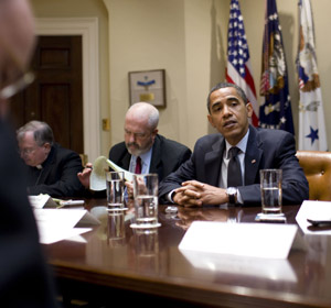 President Barack Obama holds a round-table briefing with journalists from the Catholic press and the Washington Post in the Roosevelt Room of the White House in Washington July 2. (CNS/White House)