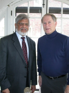 "Arun Gandhi, grandson of Mahatma Gandhi, and Jim McGinnis met in 2008 to discuss nonviolence programs and McGinnis' ""Gandhi Guidebook for High Schools."" The book was commissioned by the Gandhi Institute for Nonviolence during a visit to Christian Brothers University in Memphis, Tenn. (Courtesy Institute for Peace and Justice)"