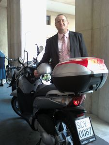 The Vatican press office uses this motorbike for picking up and dropping off important documents