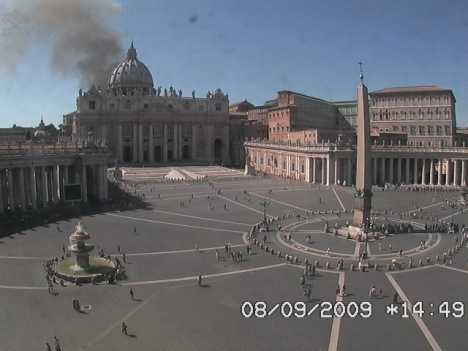 Black smoke behind the Vatican (photo from Vatican's webcam)