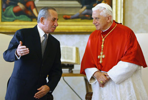 Cyprus President Tassos Papadopoulos is shown meeting with Pope Benedict XVI at the Vatican in 2006. (CNS/Reuters)