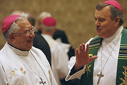 Bishop Ricardo Ramirez of Las Cruces, N.M., and Chicago Auxiliary Bishop John R. Manz chat prior to Mass on the first day of the U.S. bishops' general meeting in Baltimore Nov. 16. (CNS photo/Bob Roller)