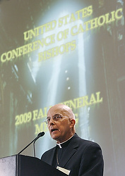 Cardinal Francis E. George of Chicago, president of the U.S. Conference of Catholic Bishops, addresses the bishops' annual fall meeting in Baltimore Nov. 16. (CNS photo/Bob Roller)