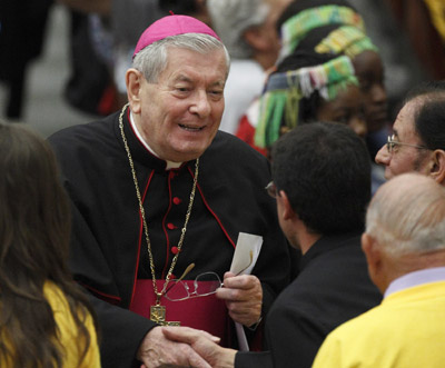 Archbishop Sambi greets guests at a papal audience at the Vatican last year. (CNS/Paul Haring)