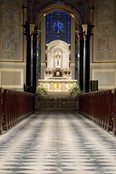 The sanctuary of the Cathedral Basilica of Sts. Peter and Paul in Philadelphia is seen from the down its main aisle. (CNS/Nancy Wiechec)