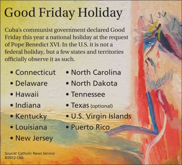 In the U.S., Good Friday is not a federal holiday, but a few states and territories officially observe it as such. (CNS graphic/Emily Thompson)
