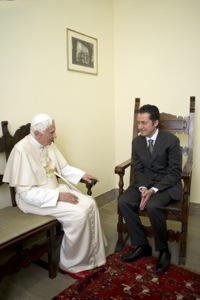 Pope Benedict and Paolo Gabriele this morning. (CNS/Reuters/L'Osservatore Romano)