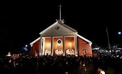 A crowd surrounds St. Rose of Lima Church Dec. 14. (CNS photo/Reuters)