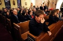 Mourners agther at Newtown, Conn., Catholic church. (CNS photo?Reuters)