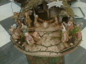 The press office Nativity scene this morning; sheep take the place of the ox and donkey ... until the mystery is solved.