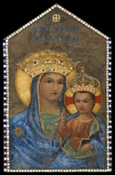 This work depicting Mary and the Christ Child, by Chicago artist Melville Steinfels, hangs in the Madonna della Strada (Our Lady of the Way) Chapel on the grounds of Loyola University Chicago. (CNS photo/Bart Harris, courtesy of Loyola University Chicago)