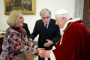 Pope Benedict and Cindy Wooden