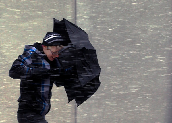 Boston pedestrian in snow Feb. 8 (CNS photo by Reuters)