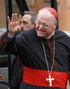 Cardinal Dolan arrives for a general congregation meeting March 7. (CNS/Paul Haring)