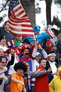The NAC superhero cheering section at a 2012 game. (CNS/Paul Haring)