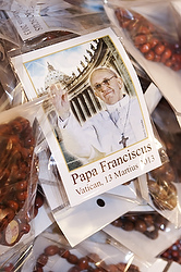 Pope Francis souvenirs on sale in Rome. (CNS photo/Lauren Colegrove)