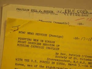 A CNS dispatch on Father Kapaun from 1951. (CNS photo)