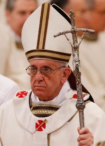 Pope Francis carries the Scorzelli crozier at Mass last evening. (CNS/Paul Haring)