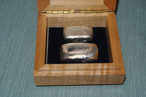 Silver in wooden box before it was shipped to Argentine silversmith. (Photo by Zachary Urban)