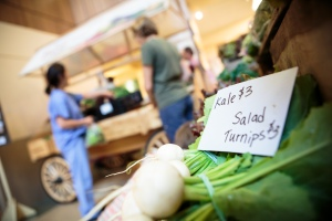 Produce is shown in the farmer's market at St. Joseph Mercy Health System. The produce is grown on a 364-acre farm on the hospital's Ann Arbor, Mich., campus. (Courtesy Catholic Health Association)